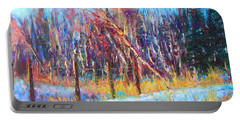 Signs Of Spring - Trees And Snow Kissed By Spring Light Portable Battery Charger