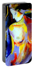 Portable Battery Charger featuring the painting Silent Glow by Helena Wierzbicki