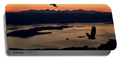 Silhouette Of Bald Eagles In Flight At Portable Battery Charger