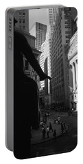 Silhouette Of George Washington Statue Portable Battery Charger by Panoramic Images