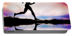 Silhouette Of Man Running At Sunset Portable Battery Charger