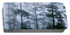 Silhouette Of Trees With Fog Portable Battery Charger