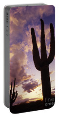 Silhouetted Saguaro Cactus Sunset At Dusk Arizona State Usa Portable Battery Charger