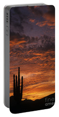 Silhouetted Saguaro Cactus Sunset At Dusk With Dramatic Clouds Portable Battery Charger