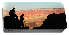 Silhouettes Of A Male And Female Hiker Portable Battery Charger