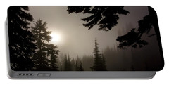 Silhouettes Of Trees On Mt Rainier Portable Battery Charger