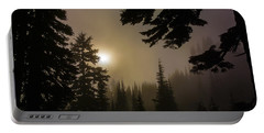 Silhouettes Of Trees On Mt Rainier II Portable Battery Charger