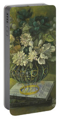 Portable Battery Charger featuring the painting Silk Floral Arrangement by Marlene Book