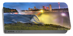 Silky Niagara Falls Panoramic Sunset Portable Battery Charger by Adam Jewell
