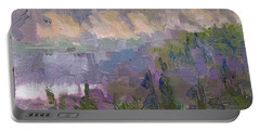 Silver And Gold - Matanuska Canyon Cliffs River Fireweed Portable Battery Charger