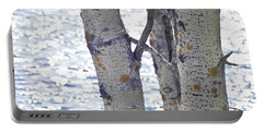 Silver Birch Trees At A Sunny Lake Portable Battery Charger
