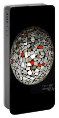 Portable Battery Charger featuring the digital art Silver Egg by Eleni Mac Synodinos