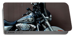 Portable Battery Charger featuring the photograph Silver Harley Motorcycle by Imran Ahmed