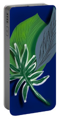 Portable Battery Charger featuring the digital art Silver Leaf And Fern I by Christine Fournier