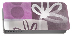 Simple Flowers- Contemporary Painting Portable Battery Charger by Linda Woods