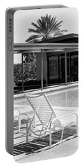 Sinatra Pool Bw Palm Springs Portable Battery Charger by William Dey