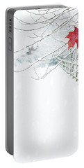 Single Red Leaf Portable Battery Charger