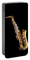 Single Saxophone Against Black Portable Battery Charger
