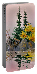 Portable Battery Charger featuring the painting Sitka Isle by Teresa Ascone