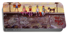 Portable Battery Charger featuring the painting Sitting On The Sea Wall by Rita Brown