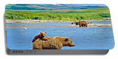 Six-month-old Cub Riding On Mom's Back To Cross Moraine River In Katmai National Preserve-alaska Portable Battery Charger
