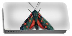 Six Spot Burnet Butterfly - Zygaena Filipendulae Naturalistic Painting - Nettersheim Eifel Portable Battery Charger