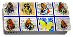 Portable Battery Charger featuring the painting Sixteen Butterflies by Marian Cates
