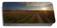 Skagit Tulip Fields Sunset Portable Battery Charger