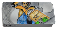 Portable Battery Charger featuring the painting Skate Or Die by J Anthony
