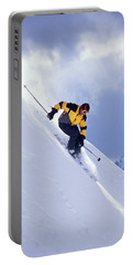 Skier On Powder Slope Portable Battery Charger