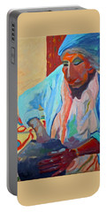 Portable Battery Charger featuring the painting Sky City - Marie by Francine Frank