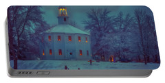 Sledding At The Old Round Church Portable Battery Charger by Jeff Folger