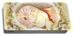 Portable Battery Charger featuring the painting Sleeping Baby Vintage Dreams by Irina Sztukowski