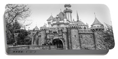 Sleeping Beauty Castle Disneyland Side View Bw Portable Battery Charger by Thomas Woolworth
