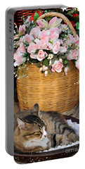 Sleeping Cat At Flower Shop Portable Battery Charger