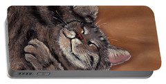 Portable Battery Charger featuring the painting Sleepy Kitty by Anastasiya Malakhova