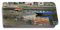Small Boats And Seagulls In Galicia Portable Battery Charger