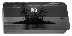 Small Island At Sunset In Black And White Portable Battery Charger