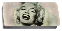 Smile Marilyn Monroe Black And White Portable Battery Charger by Georgi Dimitrov