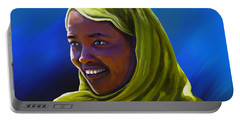 Portable Battery Charger featuring the painting Smiling Lady by Anthony Mwangi