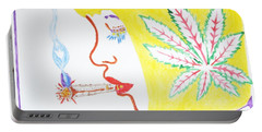 Portable Battery Charger featuring the painting Smoking Blonde by Stormm Bradshaw
