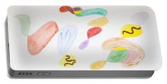 Portable Battery Charger featuring the painting Baby Snakes by Stormm Bradshaw