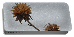 Portable Battery Charger featuring the photograph Snow And Thistles by Janice Westerberg