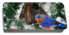 Snow Bluebird Christmas Card Portable Battery Charger