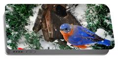 Snow Bluebird Christmas Card Portable Battery Charger by Nava Thompson