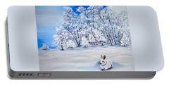 Portable Battery Charger featuring the painting Snow Bunny by Phyllis Kaltenbach