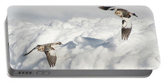 Snow Buntings In Flight Portable Battery Charger