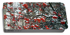 Snow- Capped Mountain Ash Berries Portable Battery Charger by Will Borden