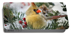 Portable Battery Charger featuring the photograph Snow Cardinal by Christina Rollo