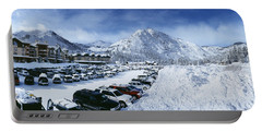 Snow Covered Cars In A Parking Lot Portable Battery Charger
